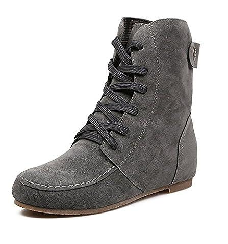 Minetom Femmes Automne Hiver Bottes de Neige Cheville Chaudes Fourrure Laçage Chaussures Plates Bottines À Lacets Gris Coton EU 39