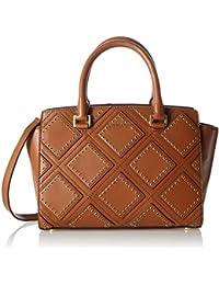 Bolsos Mujer MICHAEL KORS Selma Satchel Caramel Calf Gold Diamond Grommet Luggag