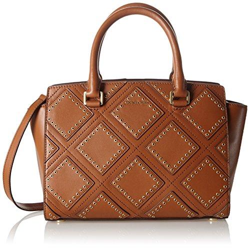Michael-Kors-Damen-Selma-Md-Tz-Satchel-Henkeltasche-Braun-Luggage-12x21x35-cm