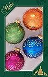 ORIGINAL LAUSCHAER CHRISTBAUMSCHMUCK - 4er Set Kugeln bunt mit gepunkteten Strudeln und Rollen, 7 cm, mit goldenem Krönchen + 50 Schnellaufhänger in gold GRATIS zu Ihrer Bestellung dazu !