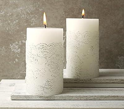Votive Candle Set White Pillar Wedding Candles 120 Hrs, 495 g * 2, Clearance Sale by LA JOLIE MUSE