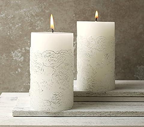 Stumpenkerzen ø70 x H130 mm 2 Stück Künstlerisches Muster weiß Silber Deko 120Std AUSVERKAUF