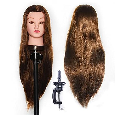 65-70 cm Tête à coiffurer Formation Mannequin Tete d'exercise a coiffer 100% Cheveux synthétique + Titulaire ESJ1018P