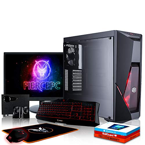 Fierce Berserker Gaming PC Bundeln - Schnell 4.2GHz Hex-Core AMD Ryzen 5 2600X, 2TB HDD, 16GB, NVIDIA GeForce GTX 1050 Ti 4GB, Win 10, Tastatur (VK/QWERTY), Maus, 24-Zoll-Monitor, Lautsprecher 988053