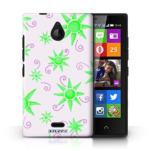 Kobalt® Imprimé Etui / Coque pour Nokia X2 Dual Sim / Vert/Bleu conception / Série Motif Soleil Vert/Blanc