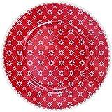 Krasilnikoff Platos de postre de color rojo con flores blancas Diagonal