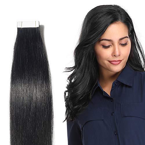 Extension capelli veri adesive biadesivo neri - 50cm 50g 20fasce #01 jet nero - 100% remy human hair lisci umani