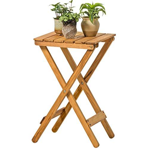 HZH Nordique Minimaliste en Bois Massif Fleur Cadre Salon Balcon Paresseux Table Pliante Table Basse en Plein Air Petite Table