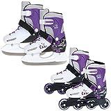 XQ MAX 2in1 Inline Skates und Schlittschuhe 2 in 1 für Mädchen Verstellbare Schuh Kufen - Mädchen S 30-32,5