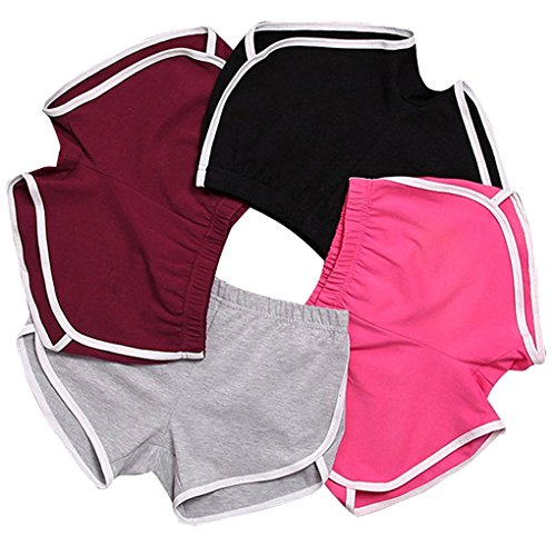 Minetom Damen Sport Shorts Retro Shorts Aktiv Yoga Shorts Hose Mit Farbig Abgesetzen Rändern 4 Stück EU XS