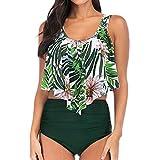 Grandi Dimensioni Costume da Bagno,Robemon Foglia di Loto Stampa Vita Alta da Donna Diviso Bikini
