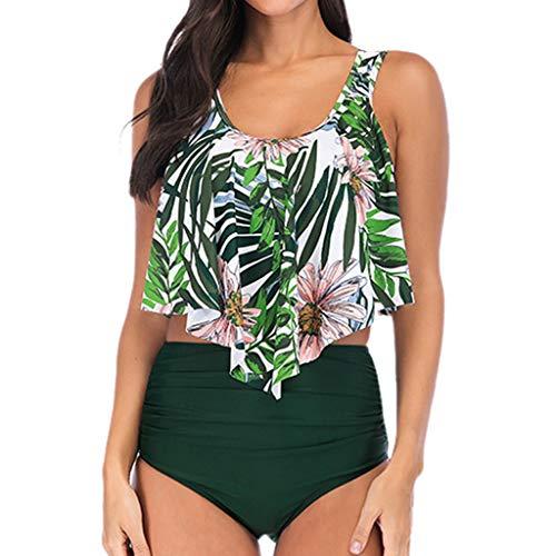 UFACE Damen Bikini Sets Badeanzug Rüschen Drucken Zweiteilige Bademode Hals Hängen Bikini Top mit High Waist Retro Hoher Taille Bikinihose Strandkleidung