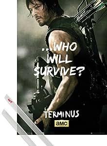 Poster + Suspension : The Walking Dead Poster (91x61 cm) Daryl Dixon, Terminus Et Kit De Fixation Transparent 1art1®