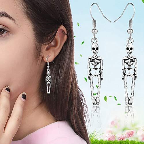 FEIDA Halloween-Ohrringe, Vintage-Skelett, hängend, für Damen, Mädchen, Party-Schmuck, Geschenk, Antik-Silber