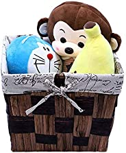YATAI Decorative Seagrass Woven Basket with Handle Linen Inner Basket, Hamper Baby & Dog Toy Storage Baske