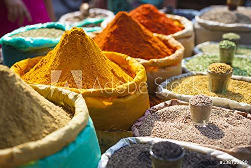 druck-shop24 Wunschmotiv: Colorful Spices Powders and Herbs in Traditional Street Market in Delhi. India. #138710290 - Bild auf Leinwand - 3:2-60 x 40 cm / 40 x 60 cm