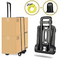 Carretilla plegable Wilbest, Carritos porta equipajes con 4 ruedas Carga máxima 70 kg/165 lbs - Después de plegar se puede poner en la mochila - Negro