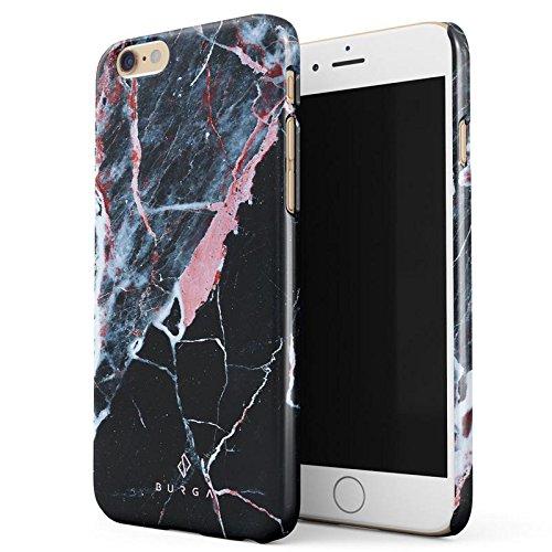 iPhone 6 / 6s Hülle, BURGA Rosa Pink Koralle Schwarz Marmor Muster Black Marble Dünn, Robuste Rückschale aus Kunststoff Für iPhone 6 / 6s Handyhülle Schutz Case Cover (Teal Color-iphone 6 Case)