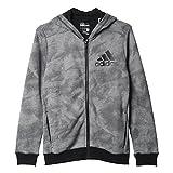 adidas Jungen Sweatshirt YB ESS AOP FZ H, Grau/Schwarz, 140, 4056562140513