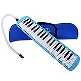 CAHAYA Mélodica 37 Touches Pianica avec Etui et deux Embout Flexible en plastique pour Enfants, Amateur de Musique, Bleu