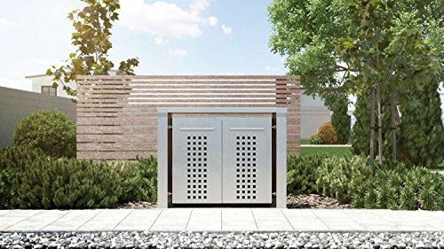 Mülltonnenbox Flachdach 4x12 Design Edelstahl 120 Liter 2 Mülltonnen
