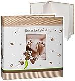 großes Fotoalbum -  Unser Enkelkind  __ süßer Teddybär & Babyfüße __ Album - Gebunden zum Einkleben & Eintragen - blanko weiß - groß 60 Seiten - für bis zu ..