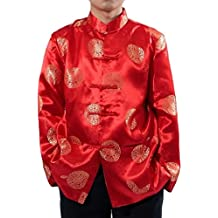 Tootlessly-Men Print Chinese Style Buckle Decorated Tang Suit Jacket Coat