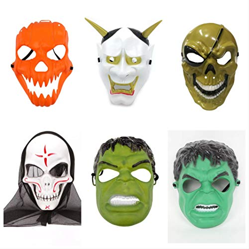 Kid Monster Kostüm - thematys Halloween Masken aus Plastik Maske 6er Set - perfekt für Halloween, Karneval & Fasching - Kostüm Erwachsene - Einheitsgröße