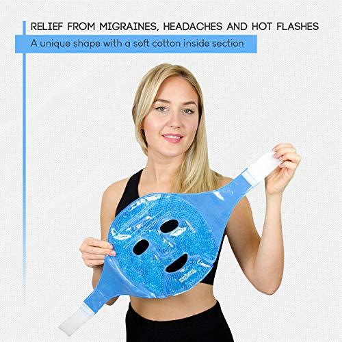 Masque gel facial Rafraichissant pour Visage - Pack de Gel pour les Maux de tête, la Peau, le Sommeil et un Pack de Glace pour les yeux gonflés, par Magic Gel