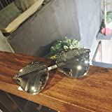 VVIIYJ Rivet Eyebrows Cat Eye Sunglasses Espejo Face Sunglasses Mujeres Gafas ,Silver Box Mercury