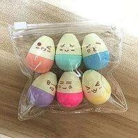 Tiptiper 6Pcs Mini Kawaii Smile Egg Highlighter Marqueur pour les enfants de l'école
