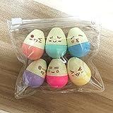 Tiptiper 6pcs mini lápiz marcador Kawaii sonrisa huevo marcadores para niños de la escuela