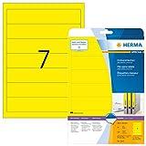 Herma 5091 Farbige Ordnerrücken gelb blickdicht, schmal/kurz (192 x 38 mm) 140 Ordner Etiketten, 20 Blatt A4 Papier matt, bedruckbar, selbstklebend