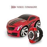 Koiiko Voiture télécommandée rapide, commande vocale et télécommande rechargeable Jouets pour Noël/Halloween/anniversaire/fête, Red