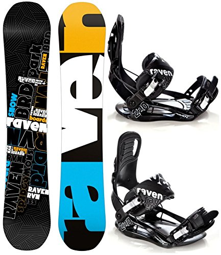 Snowboard Set: Snowboard Raven RVN Black Rocker + Bindung Raven s220 Black L