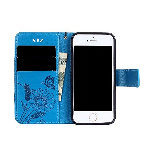 Custodia in pelle per iPhone SE,per iPhone 5S,per iPhone 5 Cover, Zcro Stile Elegante di Cuoio Magnetica Flip del Libro Fiori Farfalla Custodia Portafoglio Case con Titolare della Carta Cinturino Nero Blu