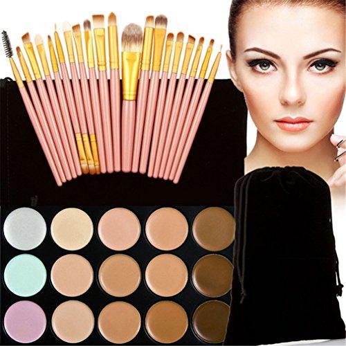 FantasyDay® 15 Couleurs de Maquillage Crème Visage Lèvres Anti-cernes Mettez en Surbrillance Contour Correcteur Camouflage Palette Fond de Teint Pour Cosmétique + 20PC Pinceau Maquillage #8