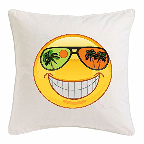 Reifen-Markt Kissenbezug 40x40cm Smiley IM Urlaub AUF Einer SÜDSEEINSEL MIT Sonnenbrille Smileys Smilies Android iPhone Emoticons IOS GRINSE Gesicht Emoticon APP aus Mikrofaser in Weiß
