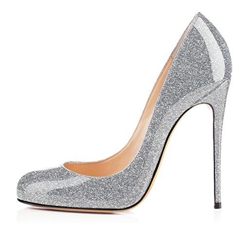 Soireelady Damen Spitze Zehe Schuhe 120mm High Heel Pumps Hohen Absätzen Geschlossen Abendschuhe Glitter-Silber EU37 -