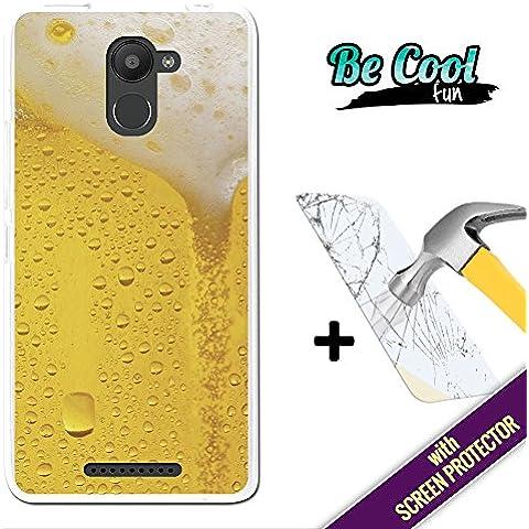 Becool® Fun - Funda Gel Flexible para Bq Aquaris U Plus, [ +1 Protector Cristal Vidrio Templado ] Carcasa TPU fabricada con la mejor Silicona, protege y se adapta a la perfección a tu Smartphone y con nuestro exclusivo diseño. Cerveza