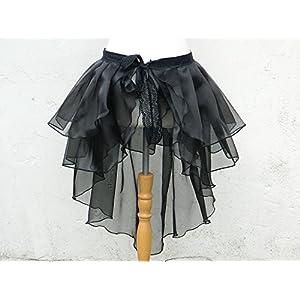 XL Rock Bustle Skirt Schleppe Wickelrock Organza Gothic Steampunk