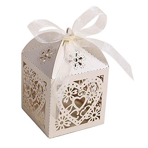 50x Liebes Herz Cut Süßigkeit Geschenk Boxen mit Band Hochzeitsfestbevorzugung Home Hotel Dekor - Beige