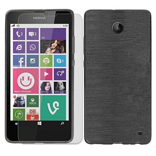 Conie SE226967 2er Set 9H Folie + Brushed Case Kompatibel mit Nokia Lumia 630, Handyhülle Set bestehend aus Folie Panzerglas & Brushed Silikon Hülle für Lumia 630 Set Schwarz