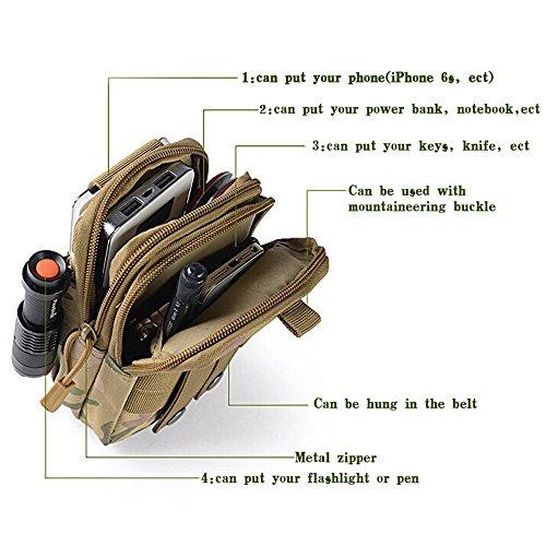 Tactical Waist Pack, Homeself MOLLE EDC Pouch Tactical Compact Utility Pouch für Outdoor Wandern Camping Radfahren mit extra Aluminium Karabiner Orange