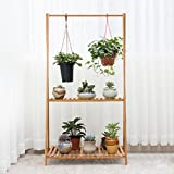 Edge to Blumenregale Bambus Blumen Regal Multifunktions Blumenständer Multilayer Klapp Blumentopf Display Rack, Hellbraun (Farbe : 2 Tier)