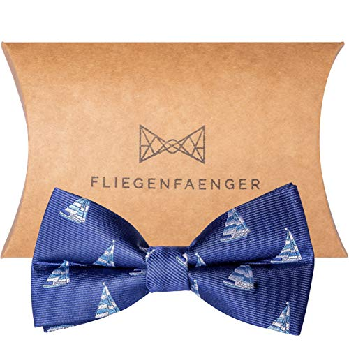 FLIEGENFAENGER® blaue Herren Fliege gebunden mit Muster individuell verstellbar - maritime Schleife dunkelblau - Accessoire für Männer inkl. Geschenkbox kombinierbar mit Einstecktuch -