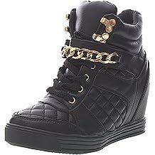 Sopily - Chaussure Mode Baskets compensée Cheville femmes Matelassé Talon  compensé 8 CM - Intérieur textile f78ad75c2301