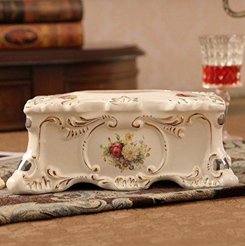 Hyun times Continental Kreative Tissue-Boxen Pumpen Tablett gehobenen Retro-Mode Wohnzimmer zu Hause Dekorationen Keramik Serviette Box (Keramik Tissue Box Cover)