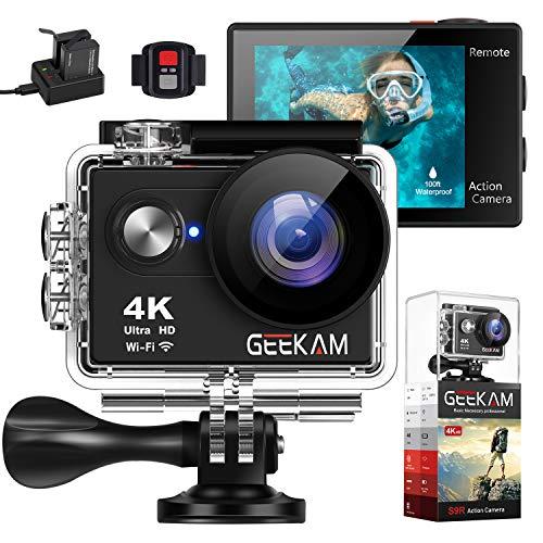 Geekam Action Cam 4K Wasserdichte 30M Unterwasser WiFi Action Kamera 170° Weitwinkelobjektiv Zwei Batterien 2.4G Fernbedienung und 16 Helm Zubehör Kit (Wasserdichte Video-kamera Zu Sehen)
