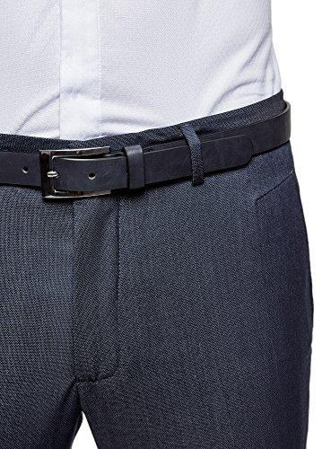 oodji Ultra Herren Hose Slim Fit mit Gürtel Blau (7500N)